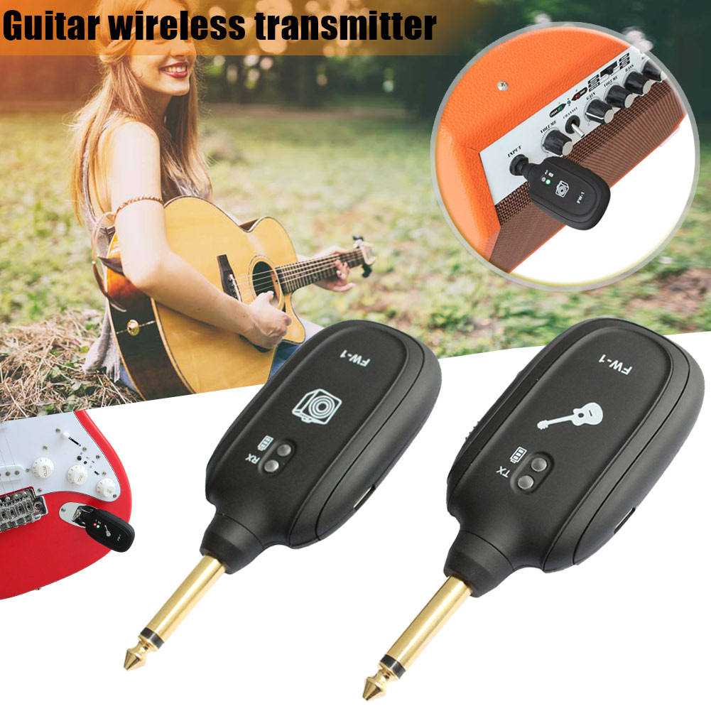 2Pcs Guitar Wireless System Rechargeable 2.4Hz Audio Transmitter Receiver Companion for Guitar Bass YS-BUY gold thumb rest for bass guitar 2pcs
