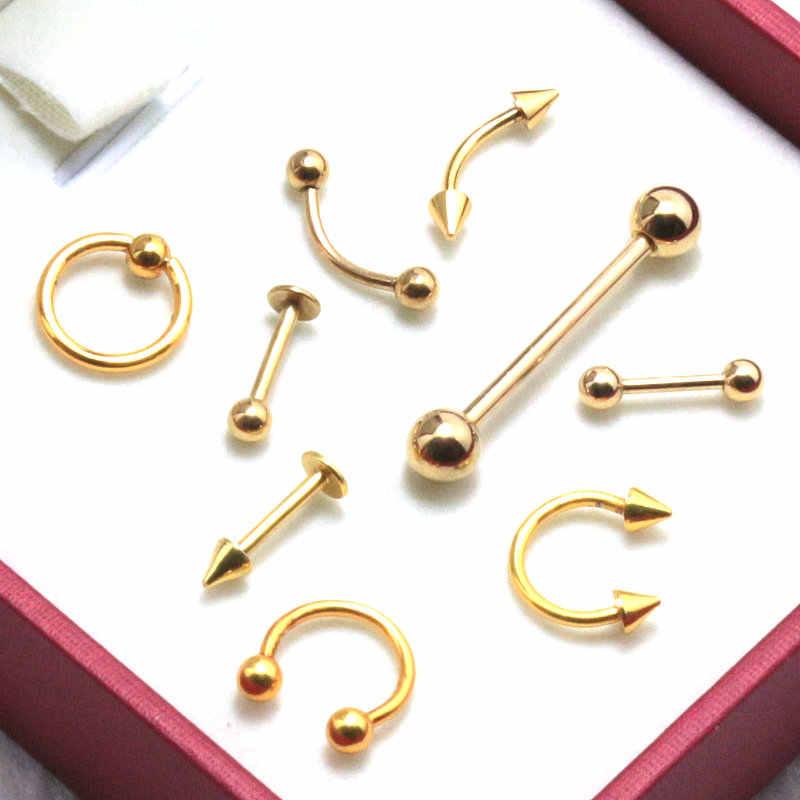 9 pçs ouro titânio anodizado aço inoxidável cativo sobrancelha nariz labret orelha anel tragus brinco língua piercing corpo jóias