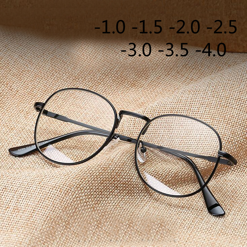 Fashion Round Alloy Glasses Frame Women Myopia Eyewear Ladies New Diopter -1.0 -1.5 -2.0 -2.5 -3.0 -3.5 -4.0 -4.5 -5.0 -5.5 -6.0