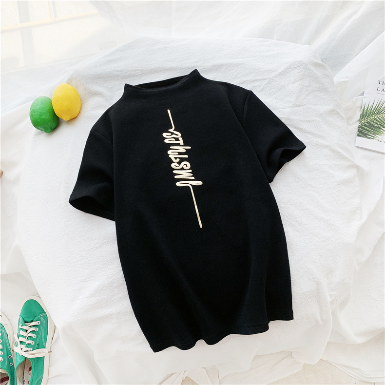 HTB1gnFCXeH2gK0jSZJnq6yT1FXaO - Harajuku White Black Female T-shirt Summer turtleneck all-match Tee Shirt Femme korean Letter Print elasticity slim Women Tshirt