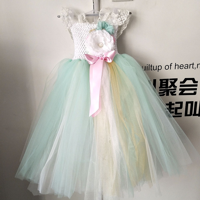 Handmade Mint Green Girl Lace Flower Tutu Dress Princess Baby Girls