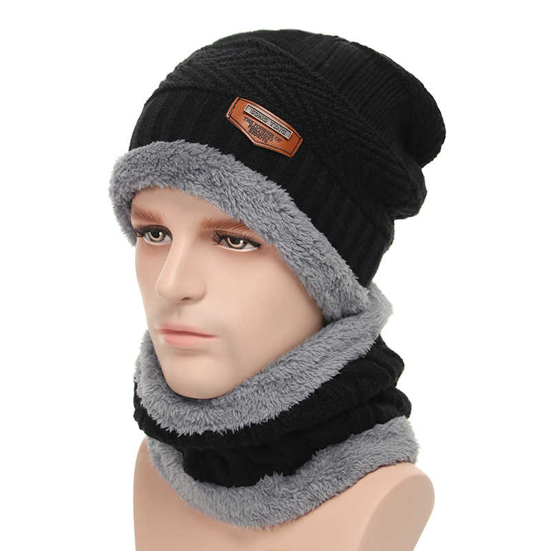 b1cddfda4b0 ... 2018 Men Beanie Knit Hat Winter Cap For Men Women Knitted Hat Scarf Set  Fashion Thicken ...