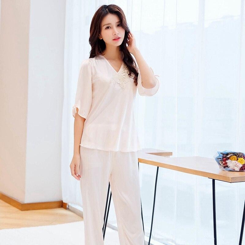 2019 Sleepwear   Set   Lace V Neck Long Sleeve Sleepwear Suit Women Silk Satin   Pajamas     Set