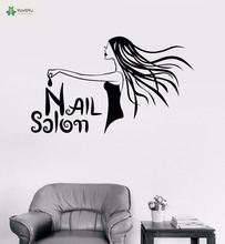YOYOYU Vinyl Wall Decal Nail Salon Manicure Beautiful Girl Art Modern Interior Removable Decoration  Stickers FD438