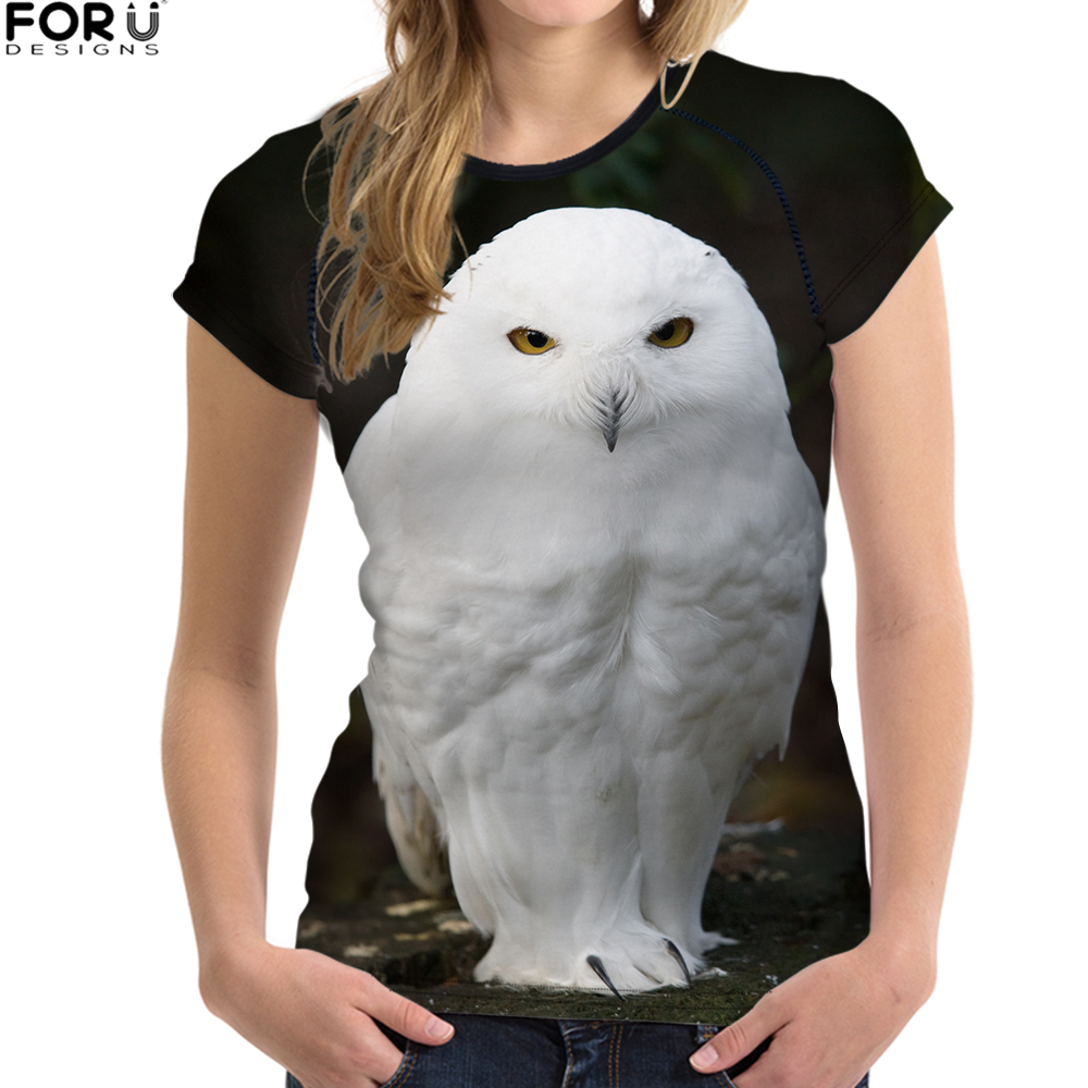 FORUDESIGNS T-shirt Wome Funny White Tops Tees Female Pigeon Printing T Shirts Feminism Casual Tshirts 2018 Summer Brand Clothes