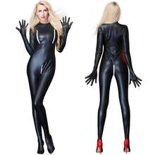 cfb1e3c2dc8 Sexy Catwoman Bondage Catsuit Latex Bodysuit Zipper Open Crotch Costume  Black Faux Leather Lingerie Wetlook Catsuit Plus Size