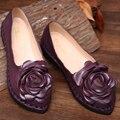 Zapatos Planos de Las Mujeres Mocasines hechos a mano de la vendimia Flor de La Mujer Zapatos Cómodos de Cuero Genuino Outsole Suave Zapatos Planos de Las Mujeres