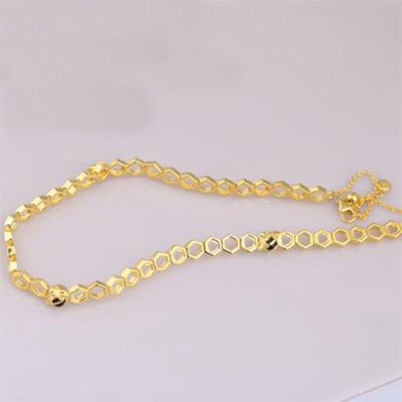 925 Sterling argent couleur or Bumble abeille nid d'abeille pendentif collier pour les femmes miel peigne pic nid forme colliers de charme - 2
