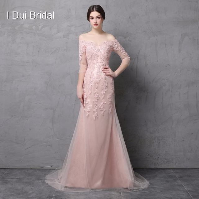 Off The Shoulder A Line Tulle Lace Mother of the Bride Dresses with Half Sleeve Sequin Beaded Elegant Wedding Guest Dress