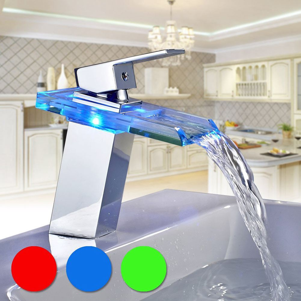 New Kitchen Garden Bathroom Basin Beautiful Led Glass Waterfall Faucet Mixer Tap-in Basin Faucets from Home Improvement    1