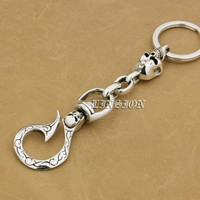 Skull Hook Solid 925 Sterling Silver Mens Biker Rocker Punk Keychain Belt Clip 9T011