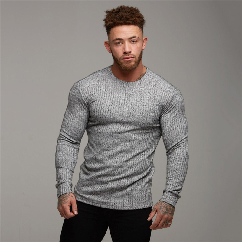 Men's Sweaters Pullovers O-Neck Long-Sleeve Knittwear Fashion Slim-Fit Autumn Fitness