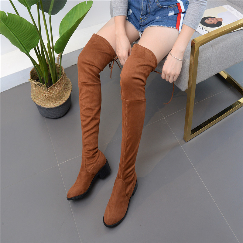 2017 Fashion Women Over The Knee Boots Sexy Flock Square High Heel Women Shoes Lacp-Up Winter Warm Motorcycle Boots Size 35-41 2018 sexy black flock square high heel fashion woman over the knee boots women shoes ladies motorcycle boots size 34 43