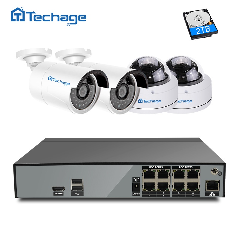 Techage H.265 8CH 48V NVR POE CCTV System Kit 4MP 2592*1520 Indoor Outdoor Dome POE IP Camera Security Surveillance Set App View techege h 265 security surveillance kits 8ch 4k 48v poe nvr 4mp 2 8 12mm zoom lens ip camera poe system p2p cloud cctv system