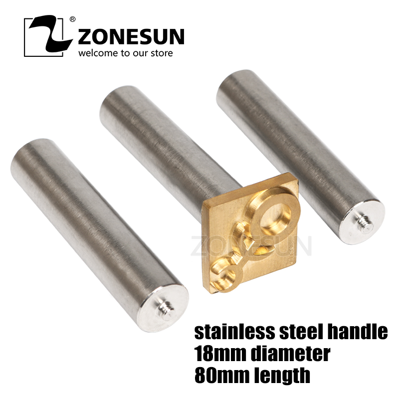 ZONESUN Stainless Steel Leather Wood Brass Mold  Handle Punch Handle Leather Stamp Mold Wood Stamp Mold Hammer Handle
