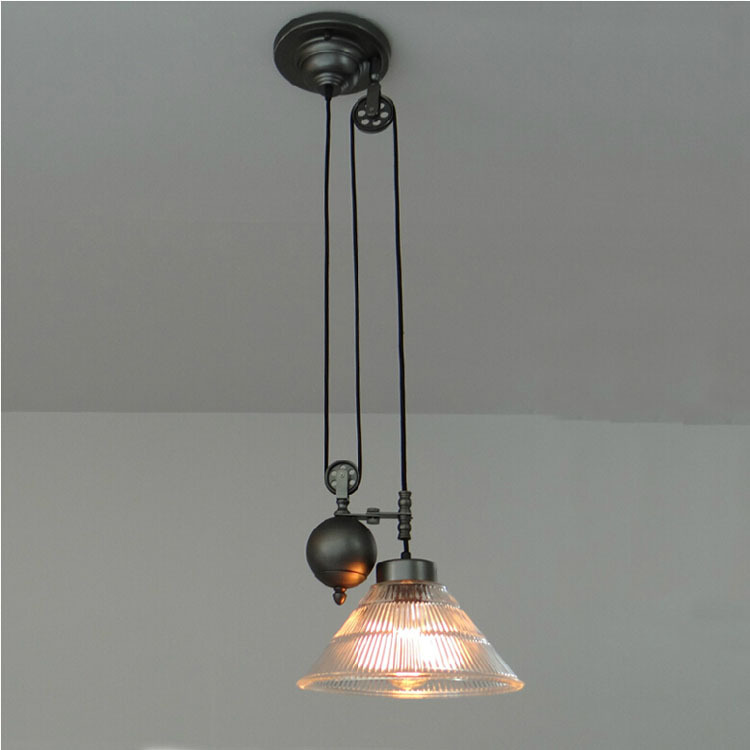 pulley lighting. Glass Lampshade Retro Pulley Spindle Lift Pendant Lights Industrial Style Iron Lamps Restaurant Bar Cafe Fixture-in From Lighting Y