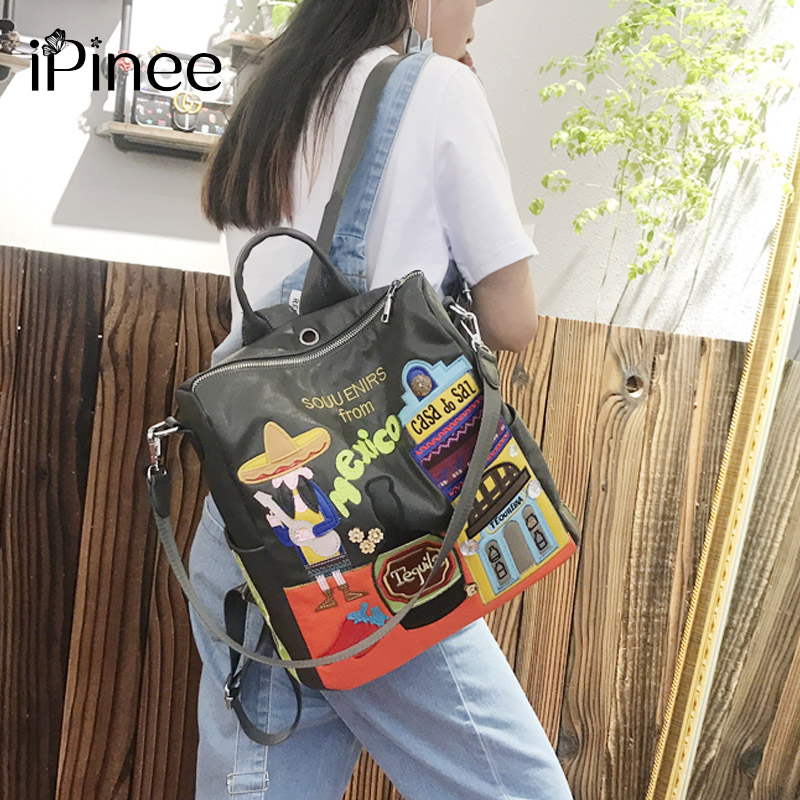 iPinee Women Leather Backpack Black Bolsas Mochila Feminina Large Designer Cartoon Girl Schoolbag Travel Bag