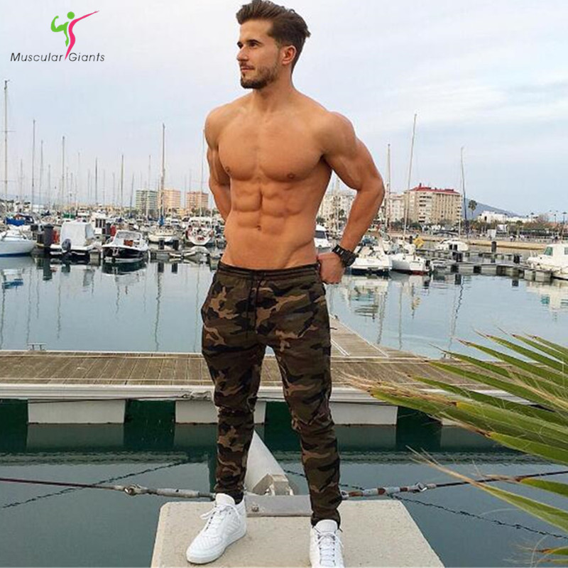 Muscle giants 2017 new fitness pants, men's camouflage pants, foot exercise pants