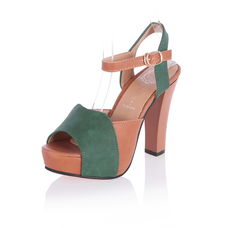 Toe Verano Hebilla Hueco Tacones Bombas Mujeres Gladiador Peep Niñas verde Finos De Roma Plataforma Sandalias Casuales Pu Coreanas Del Beige 2016 La qAOWzgO