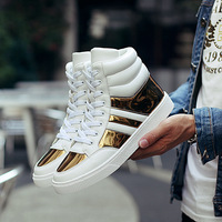Hip Hop shoes Men spring fashion sneakers gold high tops Male black running shoes lace up daily flats hombres 6 color choose