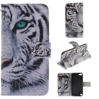 Cartoon Windbell Owl Lion Tiger Sexy Girl Flip Leather Stand Wallet Case Cover For Apple IPod