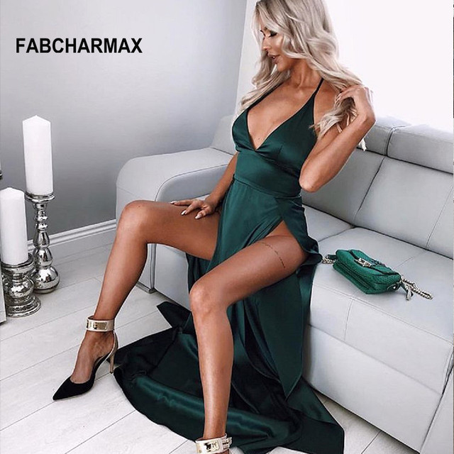 b6f3db7af7b high waist sexy double slit dresses satin evening party gowns green red  pink maxi dresses night club women backless long dress