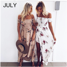 JULY Summer Dress Women Long Off Shoulder Beach Floral Boho Vintage Chiffon Maxi Large size Vestidos De Festa