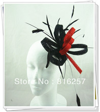 Charming chic fascinator wedding women red and black fasinctor hats nice bridal hair accessories party hats