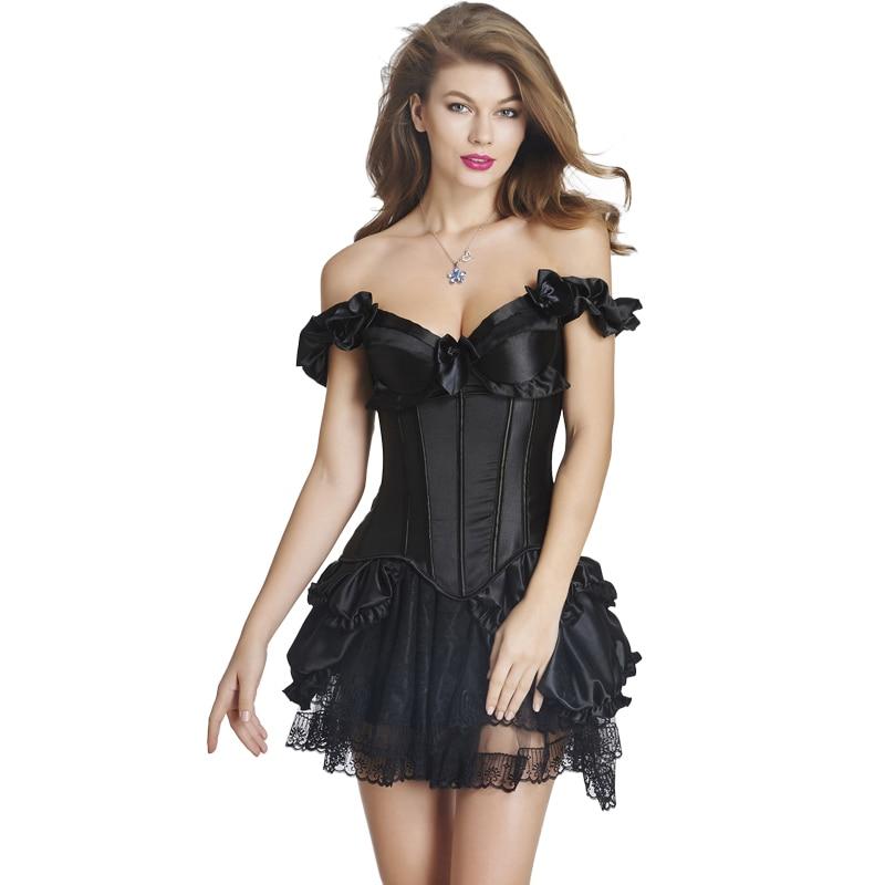 TOPMELON Sexy Corset Dress Steampunk Gothic Bustier Corselet Women Off Shoulder Lace Ruffles Bow Party Club Short Corset Dress
