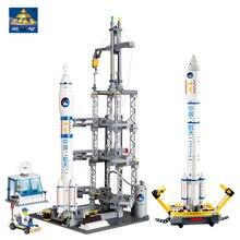 KAZI 83001 822 pcs Espace Rocket Station Building Block set Enfants L'éducation de BRICOLAGE Briques Jouets De Noël Cadeau