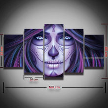 5 Panel Canvas Painting HD Prints Sugar Skull Day of The Dead Picture  Poster Artwork for Home Decor Living Room Decorate Bedroom ab3cd60fbc0f