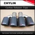 Ein Paar Auto Styling Akrapovic Auto Kohlenstoff Abgase Dual Tipps Universal AK Carbon Dual Endrohr Schalldämpfer Rohre