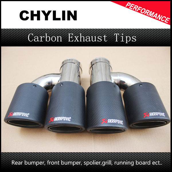 One Pair Car Styling Akrapovic Car Carbon Exhausts Dual Tips Universal AK Carbon Dual End Pipe Muffler Pipes