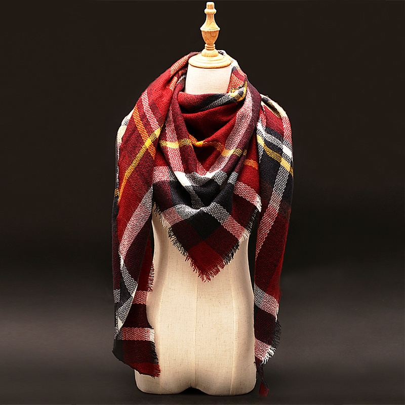 Winter luxury Brand Plaid Cashmere Scarf Women Oversized Blanket Scarf Wrap Wool Scarves Women Pashmina Shawls and Scarves
