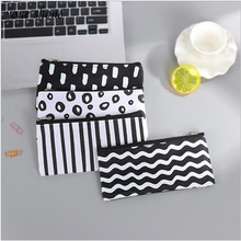 1PCS South Korea stationery Large capacity pencil case simple wavy striped canvas single zipper bag