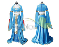 Anime Clothes The Legend of Zelda: Breath of the Wild Princess Zelda Blue Dress Cosplay Costume Full Sets A
