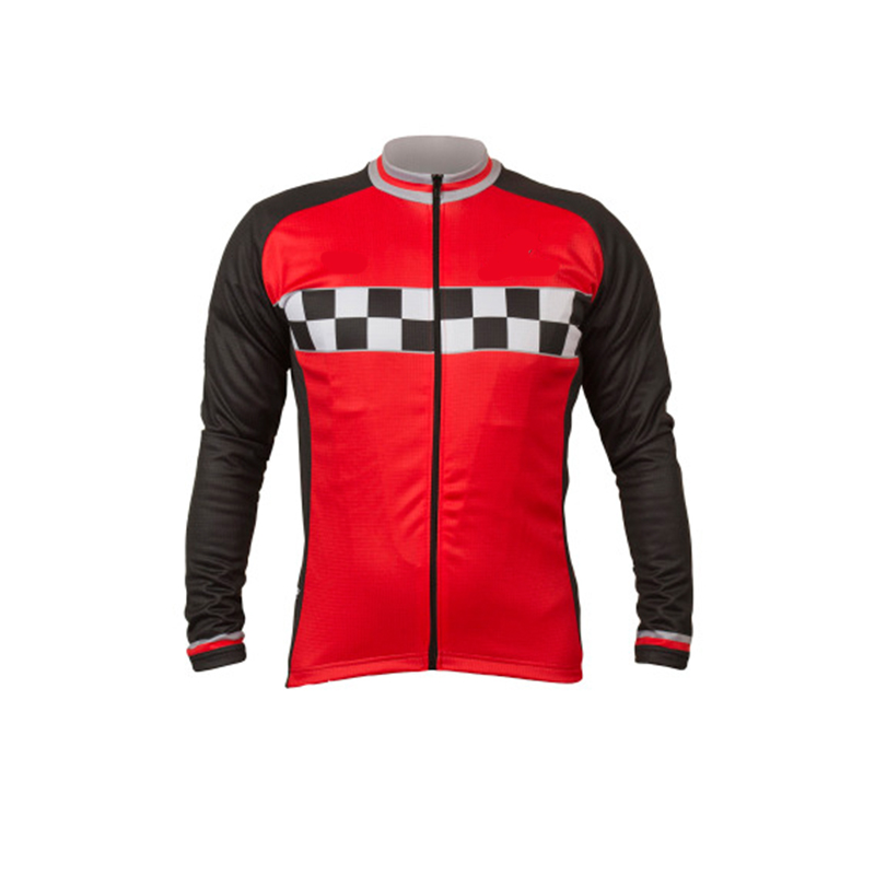 515048676 CUSROO 2018 men Winter Thermal Fleece jersey cycling clothing Red grid Long  Sleeve cycling jersey mtb ropa ciclismo XXS-6XL