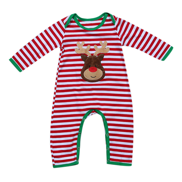 6e329feaf5a6 Christmas Newborn Baby Girls Boys Clothes Striped Long Sleeve Romper ...