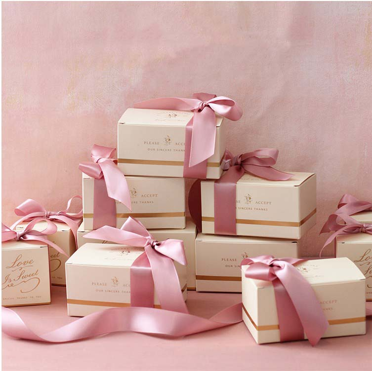 Free Shipping 50pcs Wedding favor and <font><b>gift</b></font> elegant <font><b>big</b></font> size pink Matcha green ribbon candy <font><b>box</b></font> <font><b>packaging</b></font> boxes guest <font><b>gifts</b></font> image
