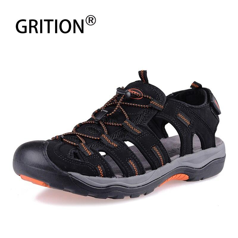 GRITION Men Sandals Platform Beach Outdoor Summer Adjustable Walking Shoes Close Toe Fisherman Gladiator Water 2019 Sandalias