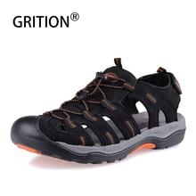 GRITION sandales en cuir pour hommes, Nubuck, gladiateur, chaussures de plage, dextérieur, à la mode, à bout fermé, antidérapantes, confortables décontracté