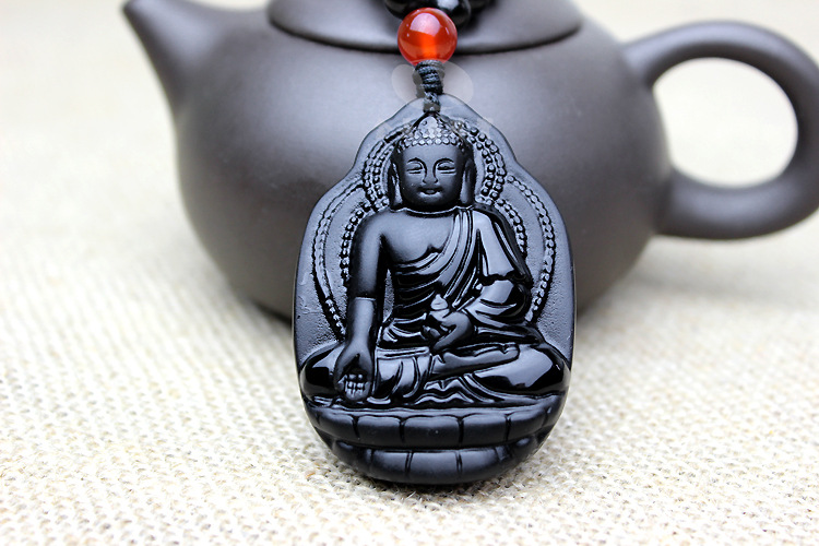 Natural Black Obsidian Shakyamuni Gautama Buddha Carved Lucky Amulet polish pendant Necklace