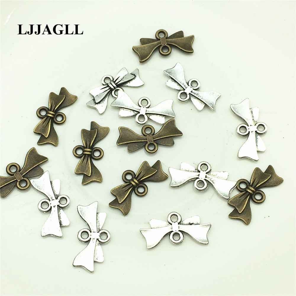 LJJAGLL Metal Jewelry Diy Connectors 30PCS 20*10mm Silver Bowknot Shape Charms Diy Pendants Jewelry Finding Components ALJQ004