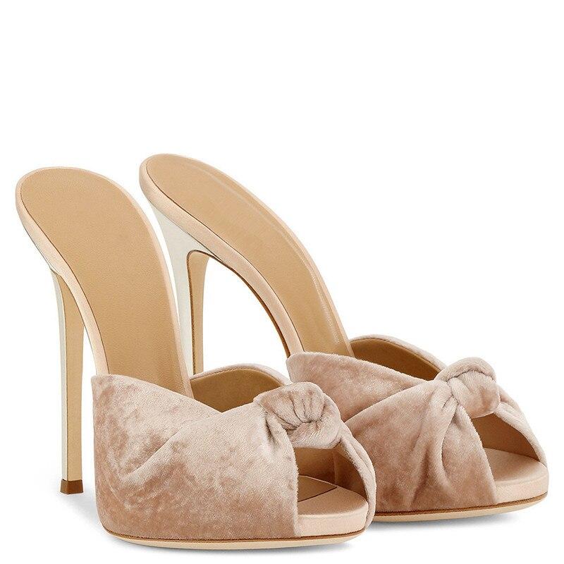 Nouveau Talon Sandales Chaussures Toe 46 Mujer Noué Robe As D'été as Mules Taille Pantoufle Soirée Peep Dames Zapatos Pic Haut De Pic Velours Grande Femmes rO5qvRr