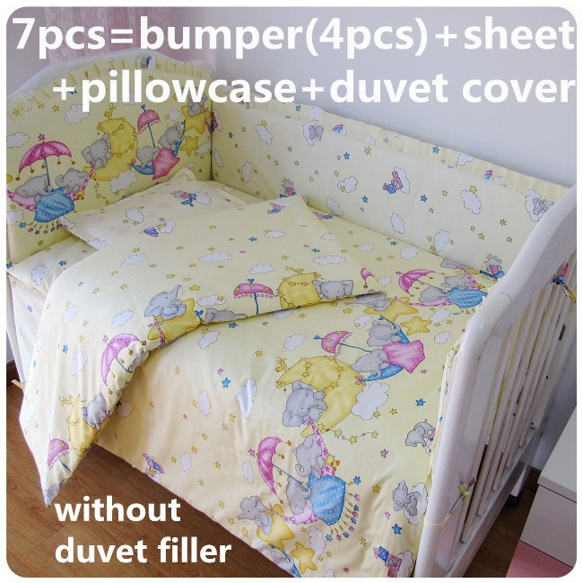 Promotion! 6/7PCS Crib Bedding Set,Baby Bedding Set Cotton Baby Cover Print Cartoon Quilt Cover ,120*60/120*70cm цена