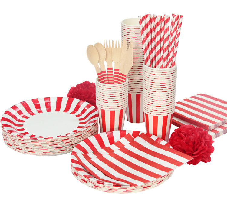 Promotion White \u0026 Red Lovely Stripe Tableware Party plate cups napkins paper straw without Cutlery Set Knives Forks Spoons on Aliexpress.com | Alibaba ...  sc 1 st  AliExpress.com & Promotion White \u0026 Red Lovely Stripe Tableware Party plate cups ...