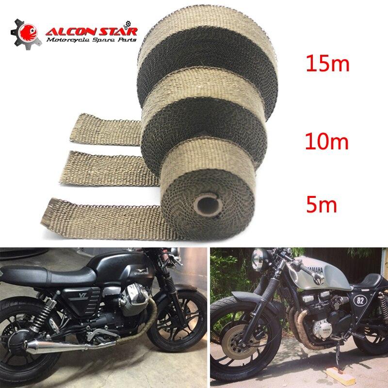 Alconstar-5 m/10 m/15 m di Calore di Scarico Thermo Wrap Scudo Protettivo Tan Nastro A Prova di Fuoco Isolante rotolo di stoffa Kit per Auto Moto