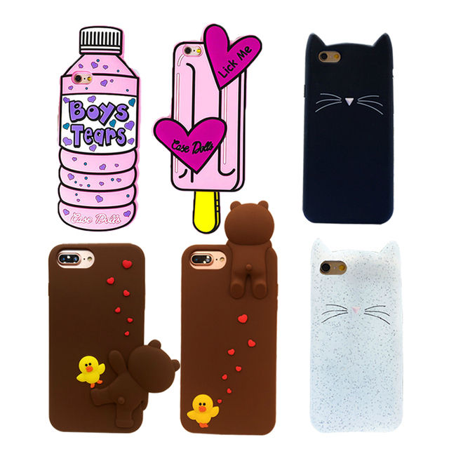 uk availability e10ff 7faaf US $2.72 15% OFF|For Iphone 7 6s 6 Plus 5S SE Case Cute 3D Water Bottle Ice  Cream Brown Bear Bearded Cat Soft Silicon Rubber Phone Case Cover New-in ...