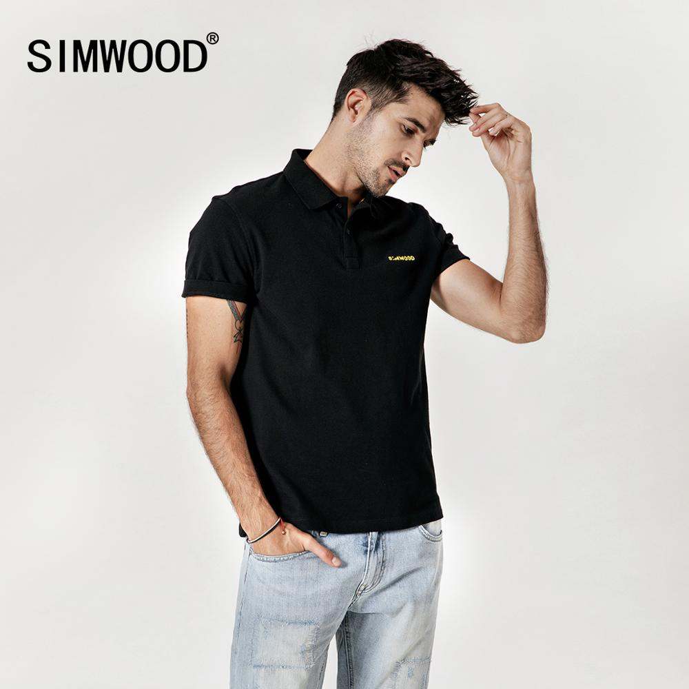SIMWOOD 2019 summer new embroidered logo   polo   shirt 100% cotton classic top short sleeve high quality plus size tees
