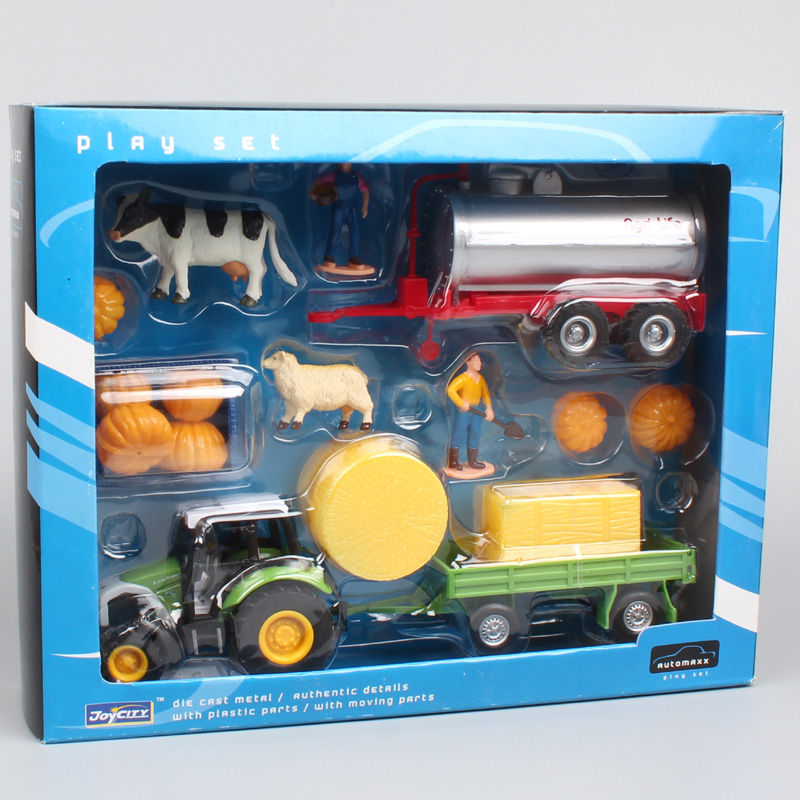 1 Set Farm Animals Tractor Trailer Tow Truck Action Figures Cow Farmer Cargo Learning Education Play House Toy For Children Baby